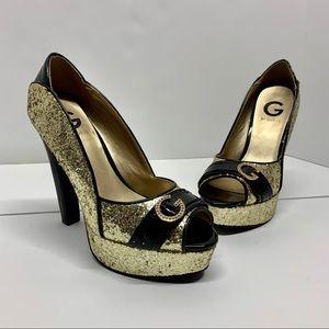 Guess Gold Glitter Heels 6 1/2